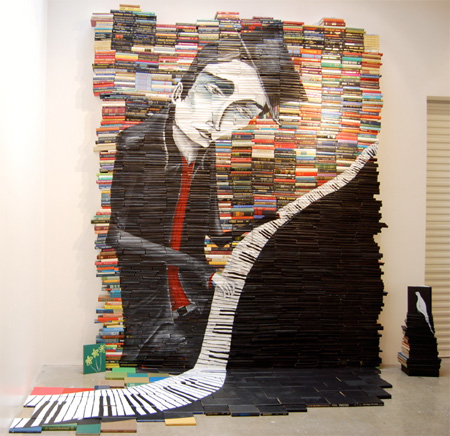 "Mike Stilkey ""Reminiscent"" June 2010, 12x10 ft. Acrylic on over 2000 books Hurley Space Gallery"