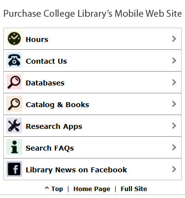 Purchase College Library's Mobile Site