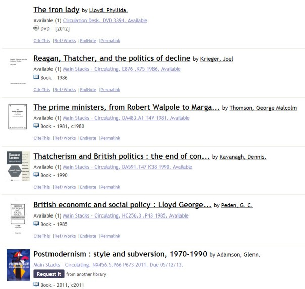 results for searching margaret thatcher in the catalog