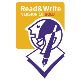 read&write gold logo with globe holding a pen and paper
