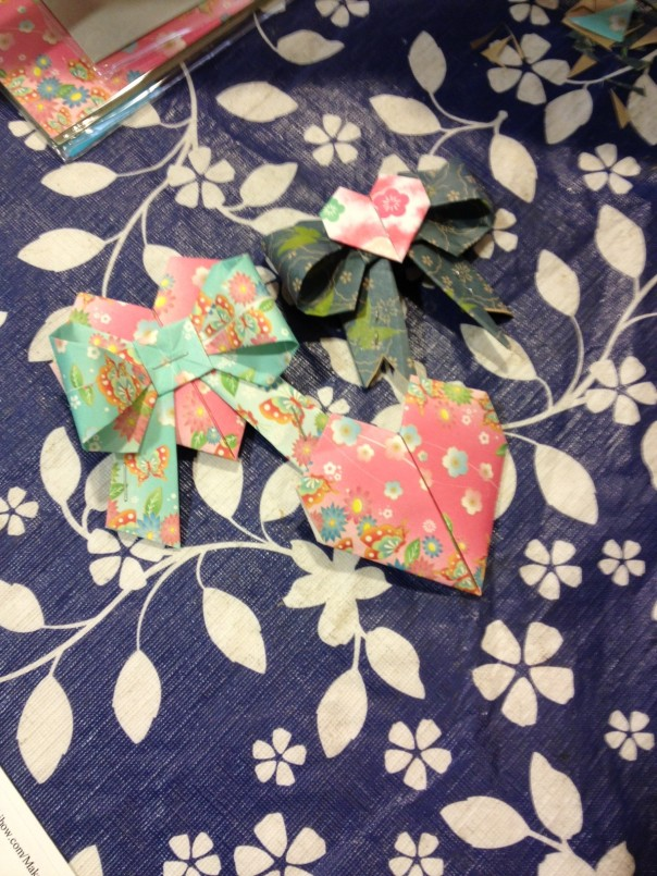 origami bows & heart made by a student