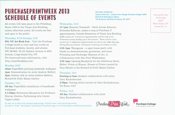 flyer with schedule of print week events. also available at www.purchase.edu/printweek