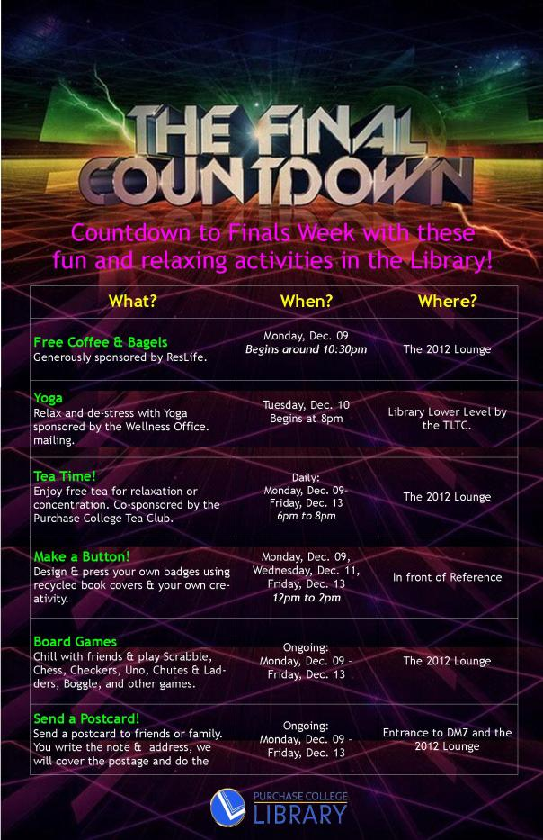 schedule of finals week events. for screenreader accessible schedule, see chart below the image