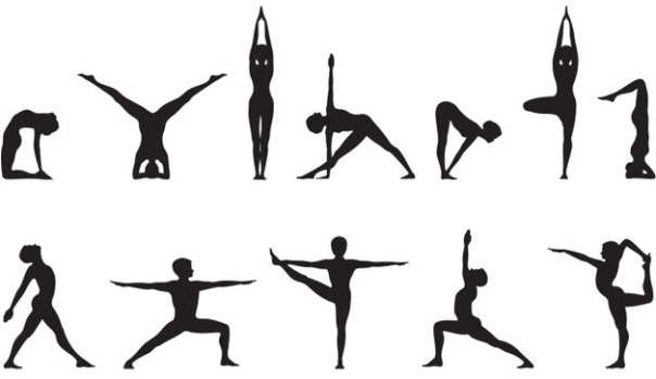 image of yoga poses in silhouette