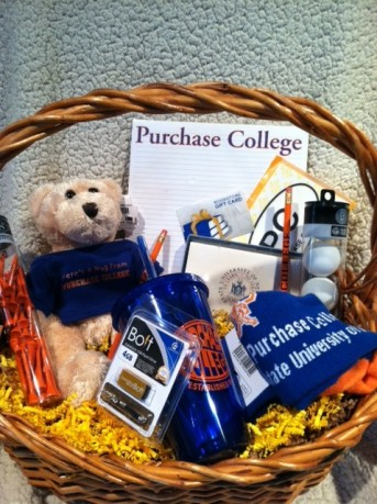 gift basket with purchase college gear
