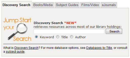 image of search boxes: discovery, books/media, subject guides, films/media, ejournals