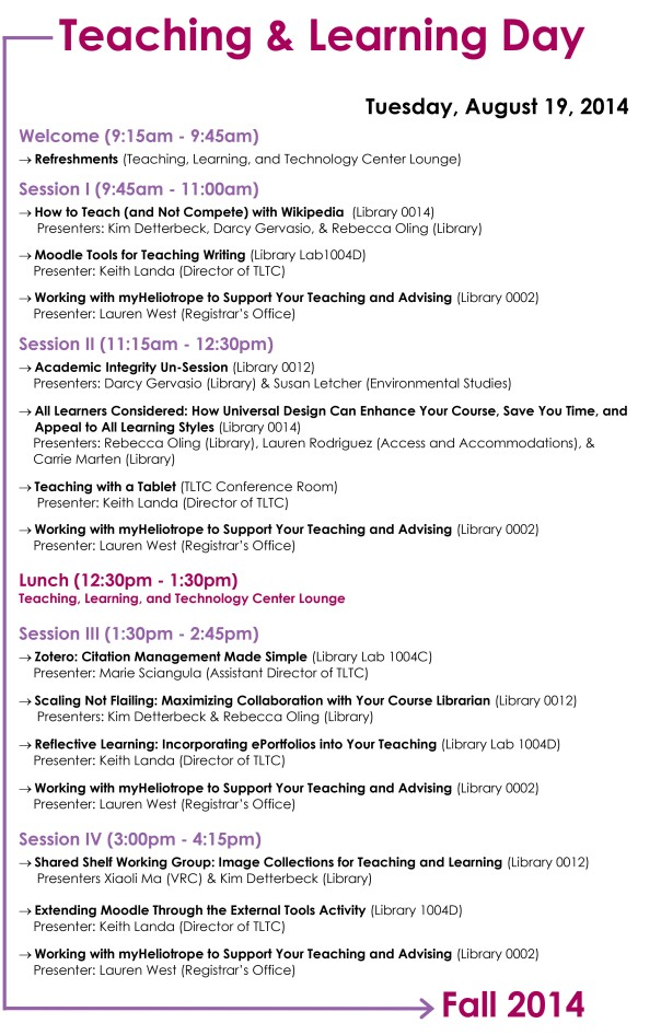 Teaching & Learning Day Schedule. See full schedule here: https://drupalsites.purchase.edu/tltc/index.php?q=node/282