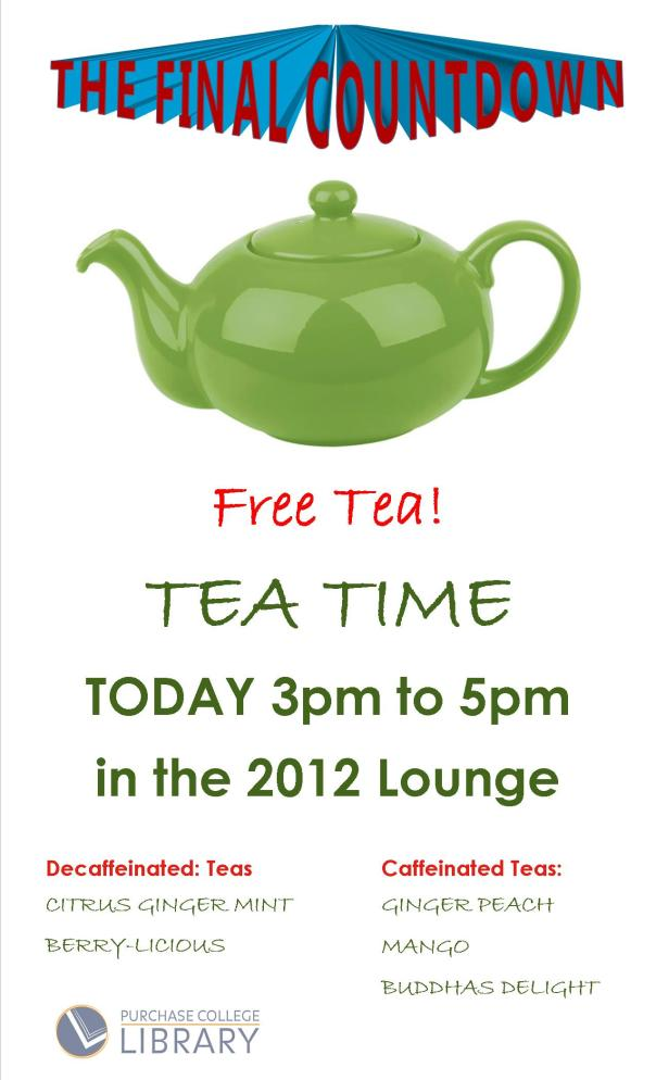 free tea dec. 9 from 3 to 5pm in 2012 Lounge