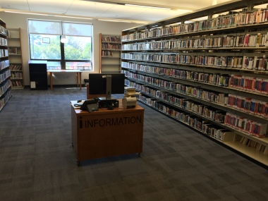 Get help at mobile information desks throughout the stacks at Harrison Public Library
