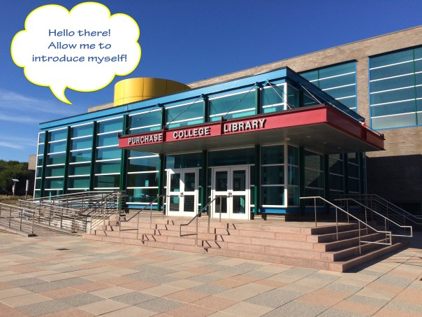 "picture of the library entrance with text ""Hello there! Allow me to introduce myself"" in a speech bubble"