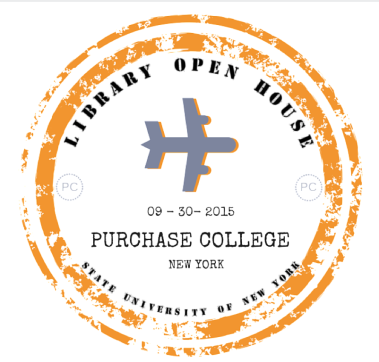 "airplane and passport stamp logo reading ""Library Open House September 9 2015 Purchase College New York State University of New York"""