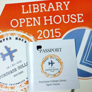 poster reading Library Open House 2015 with passport image with airplane and library logo
