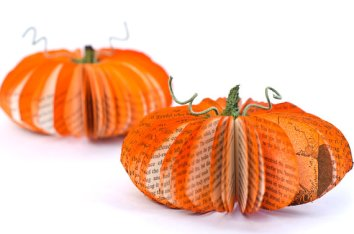 decorative orange pumpkins made of book pages